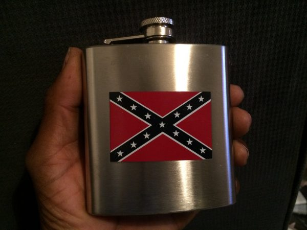 Confederate Flag Stainless Steel Hip Flask