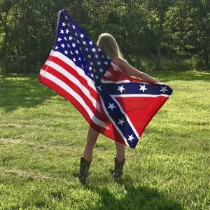 AMERICAN FLAG WITH CONFEDERATE REBEL FLAG