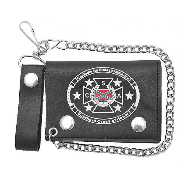 Rebel Cross of Honor Leather Trifold Wallet w/ Chain