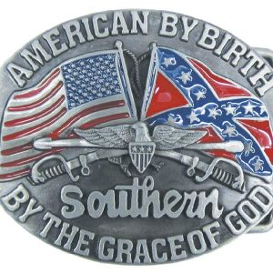 REBEL AMERICAN BY BIRTH BELT BUCKLE