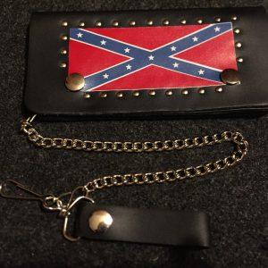 Leather Studded Trucker or Biker Wallet W/Chain