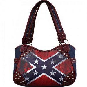 Concealed Carry Vintage Rebel Flag Shoulder Bag W/Double Handle