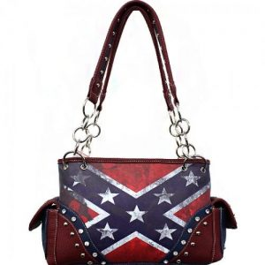Concealed Carry Vintage Rebel Flag Shoulder Bag W/Chain Handle