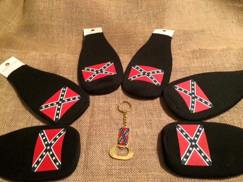 Confederate Flag Bottle Koozie (black)