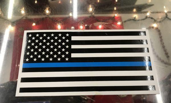 American Flag Blue Line Bumper Sticker