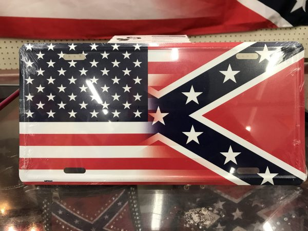 Half and Half Flag License Plate