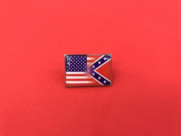 Half American Half Confederate Flag Pin