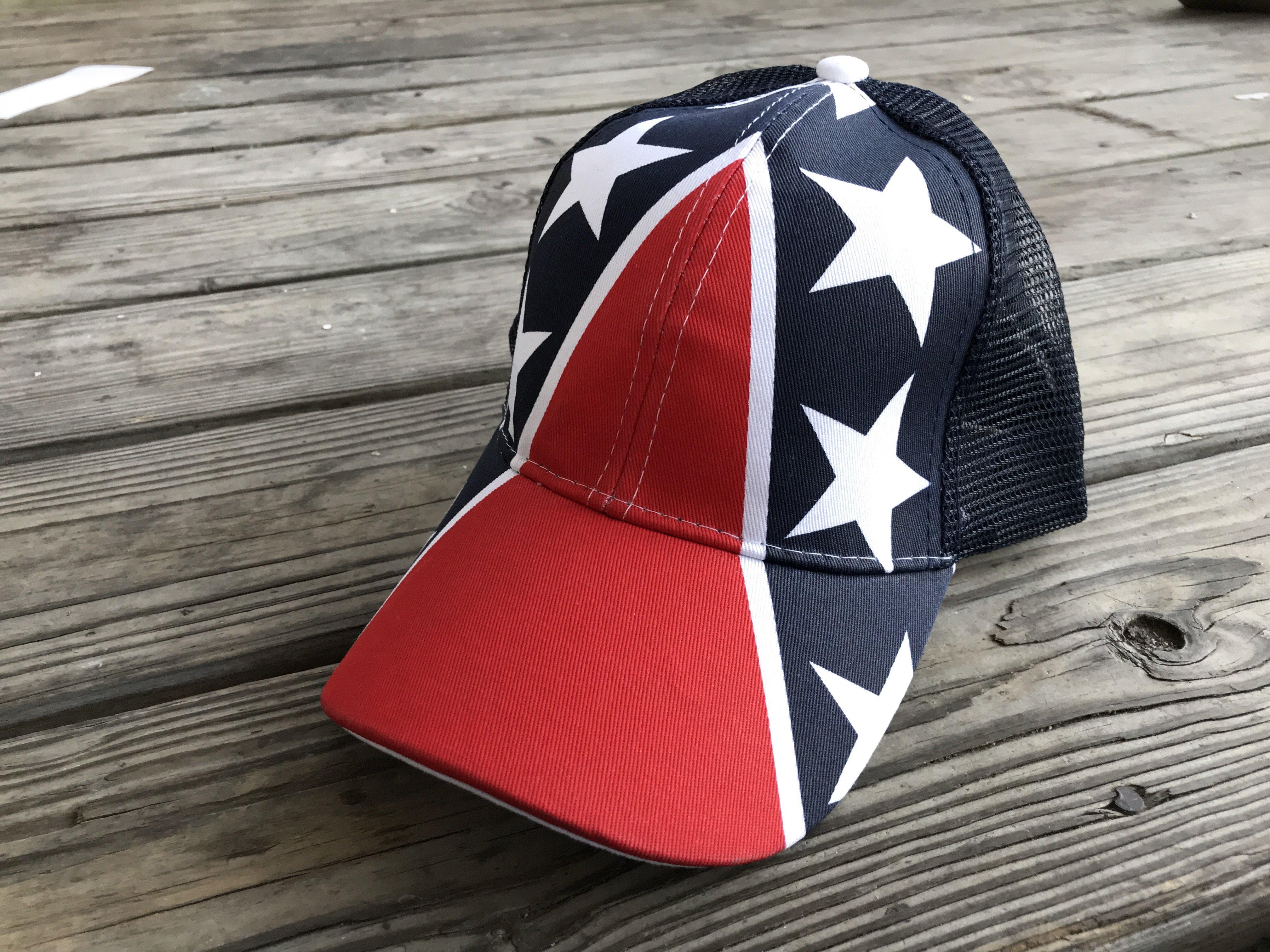 All Over Rebel Flag Trucker Mesh Back Cap