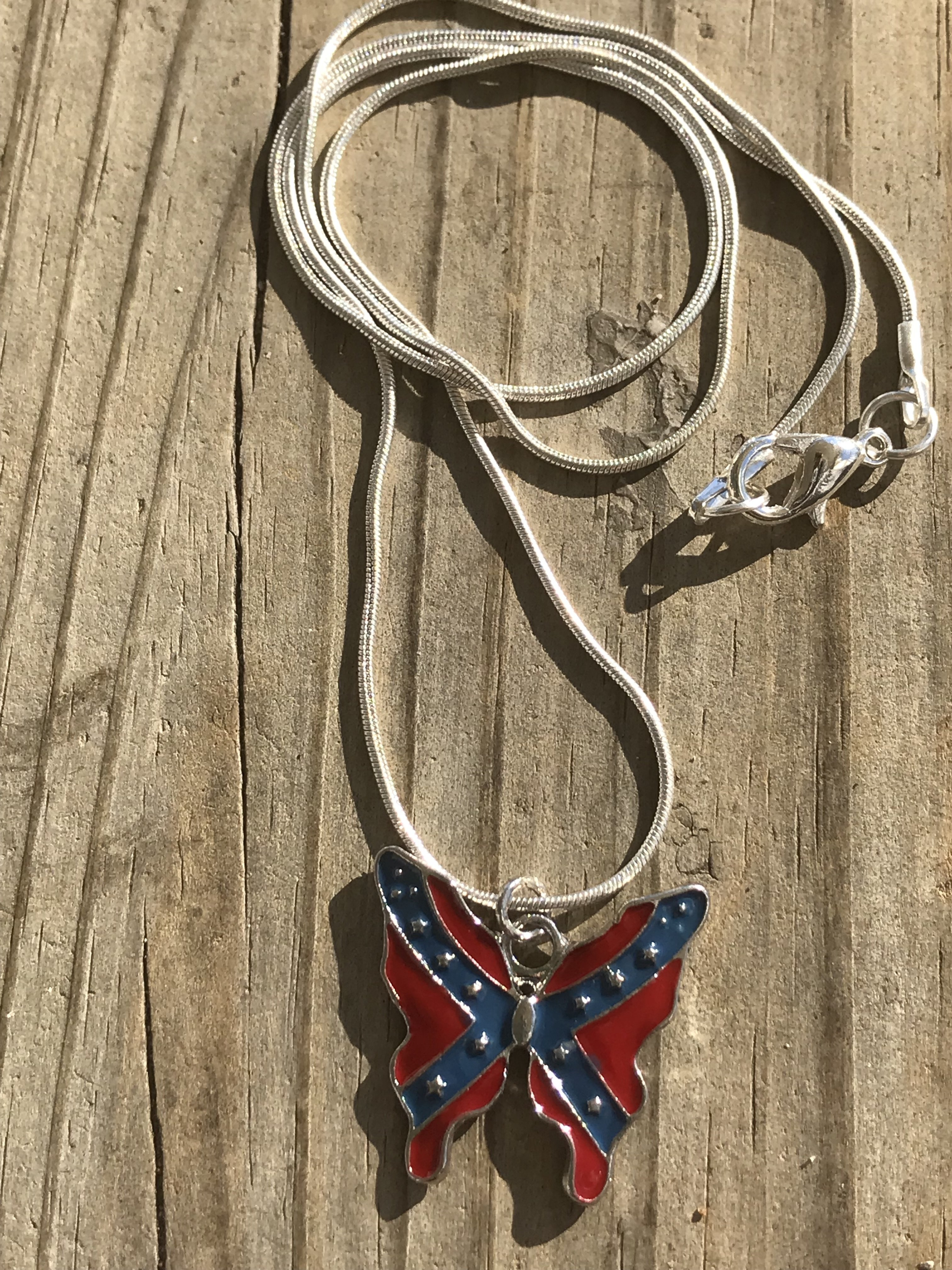 Rebel Flag Butterfly Earrrings and Necklace