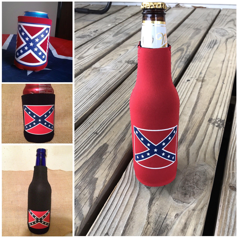 Confederate Flag Can Koozie Black