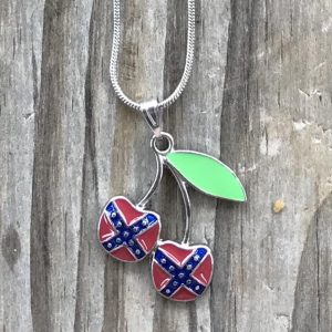Rebel Flag Cherry Earrings and Necklace