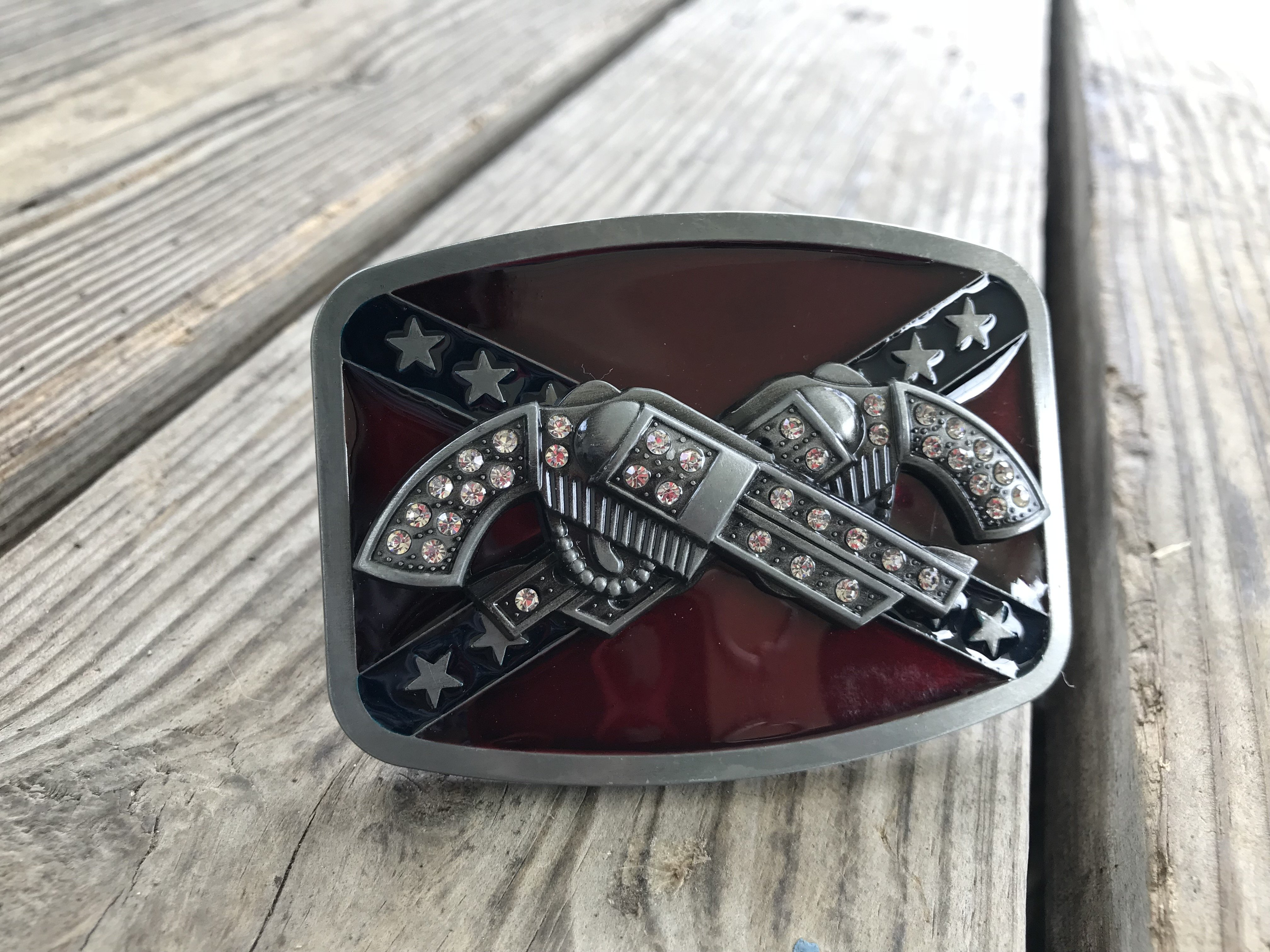 Rebel Dual Pistol Bling Belt Buckle
