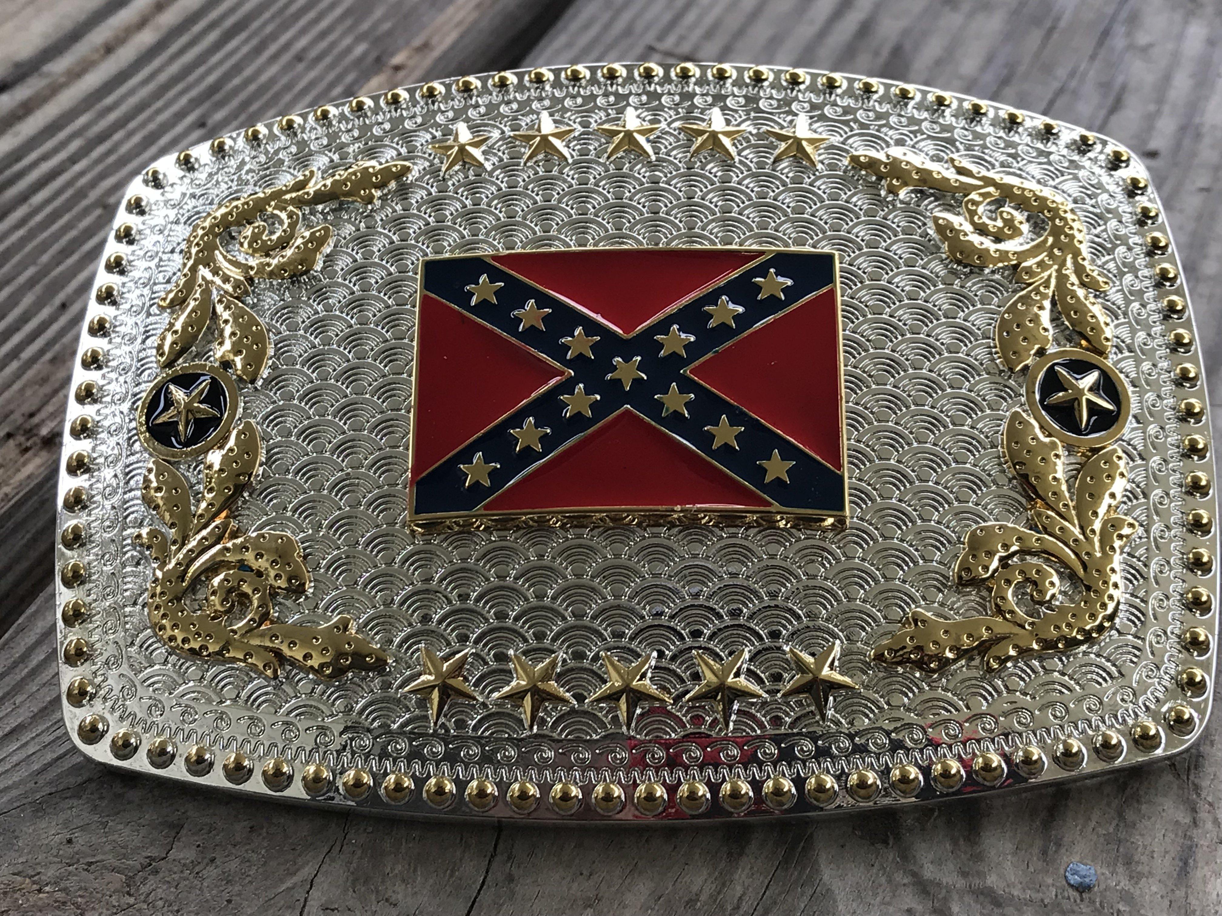 Oversized Rebel Flag Belt Buckle