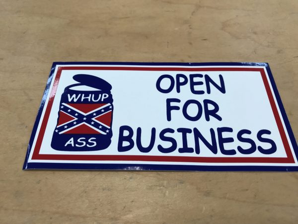 Open For Business Flag Sticker