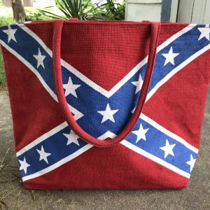 Rebel Flag Burlap Tote Bag