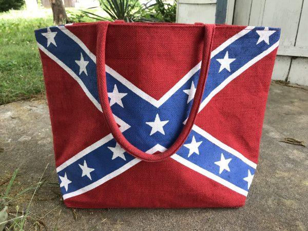Rebel Flag Burlap Tote Bag