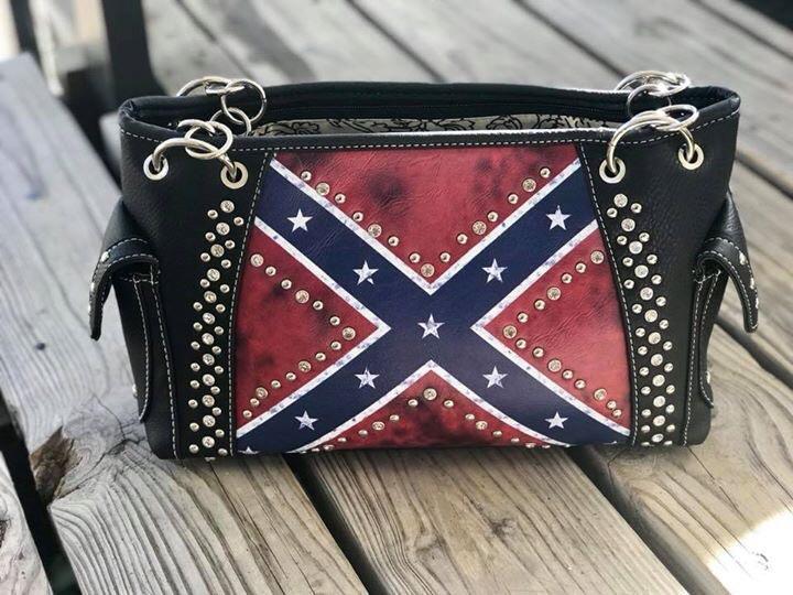 Vintage Rebel Flag Handbag W/Studs