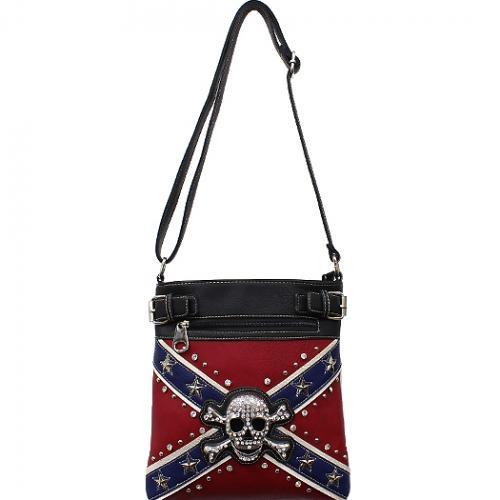 Concealed Carry Rebel Flag w/Skull & Crossbones Messenger Bag