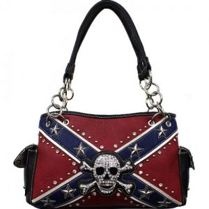 Concealed Carry Rebel Flag Skull And Crossbones Shoulder Bag W/Chain Handle