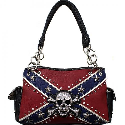 Concealed Carry Rebel Flag Skull And Crossbones Shoulder Bag W/Chain Handle