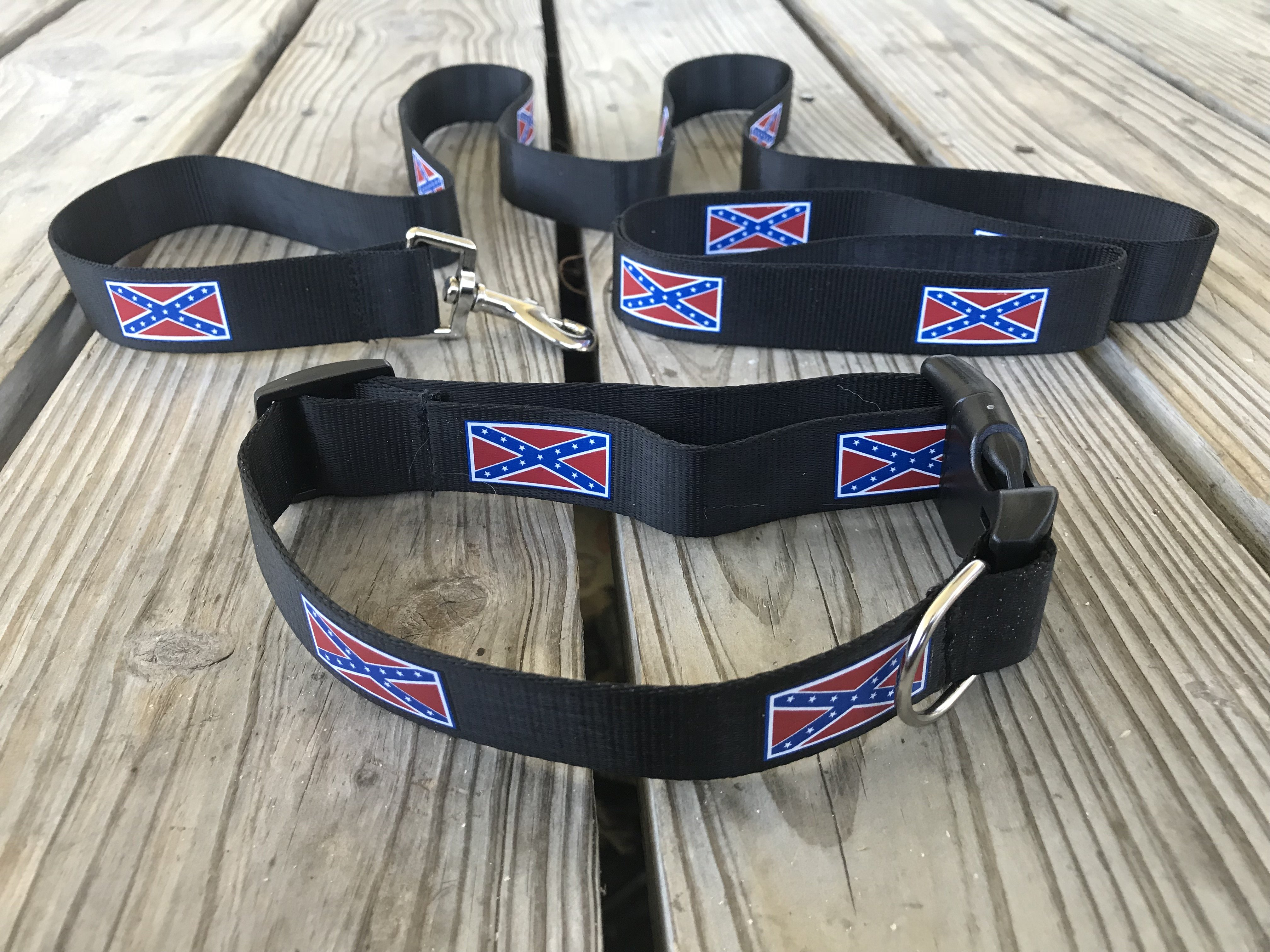 Black Battle Flag Adjustable Dog Collar & Leash