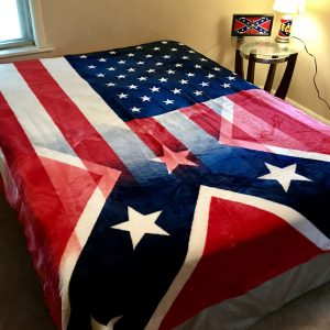 Half and Half American Rebel Flag Oversized Queen Fur Blanket