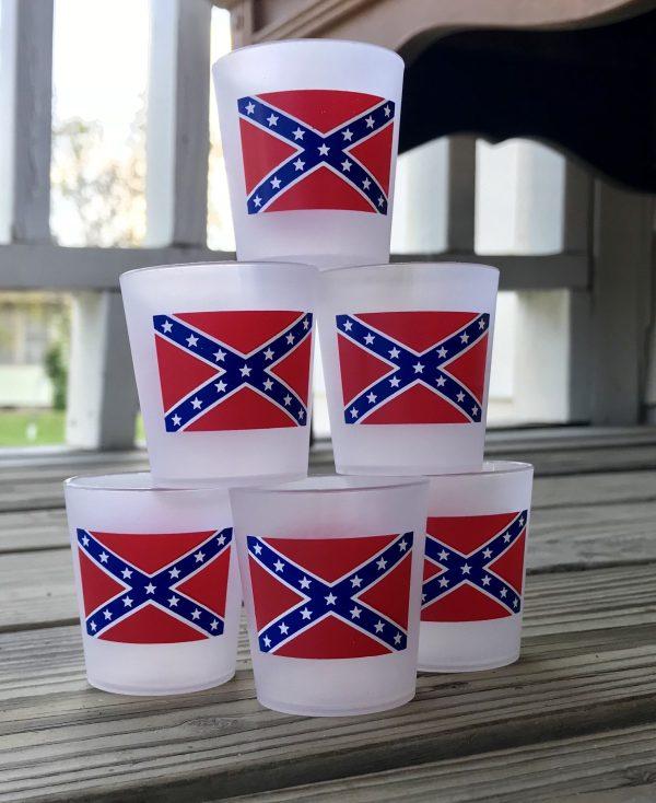 Frosted Plastic Rebel Flag Shot Glasses (6 pack)