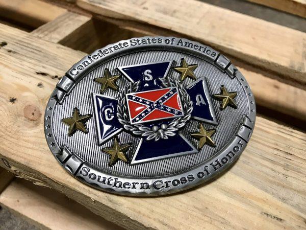 Rebel Southern Cross of Honor Belt Buckle