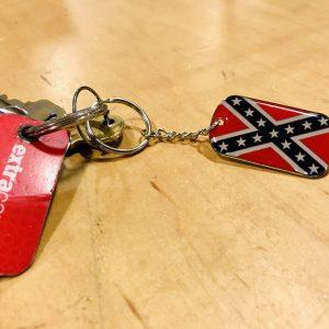 Rebel Flag Dogtag Keychain