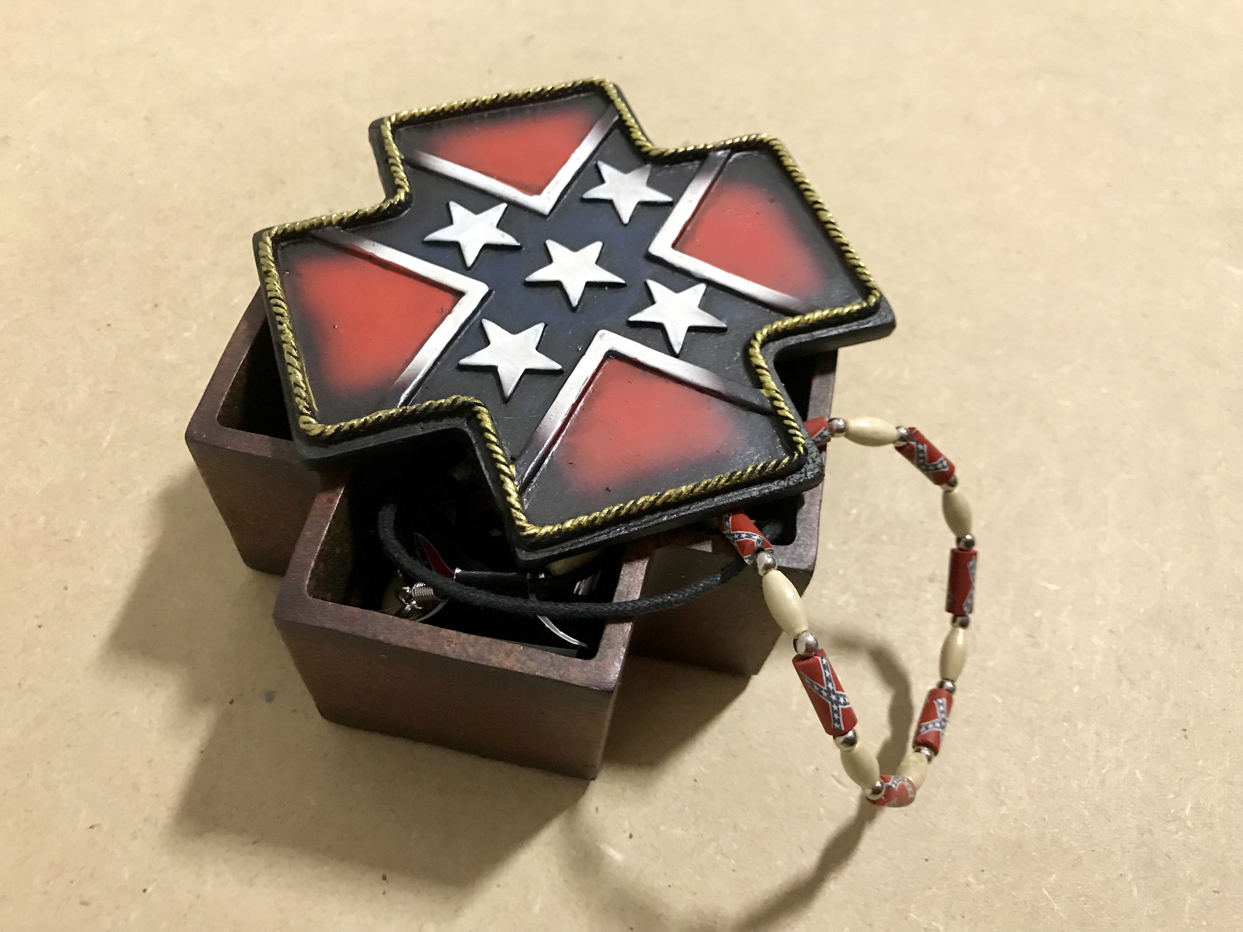 Confederate Cross Trinket Box