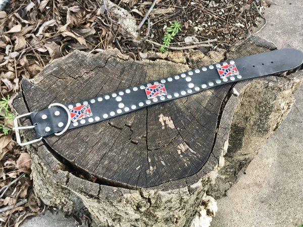 Rebel Leather Studded Dog Collar