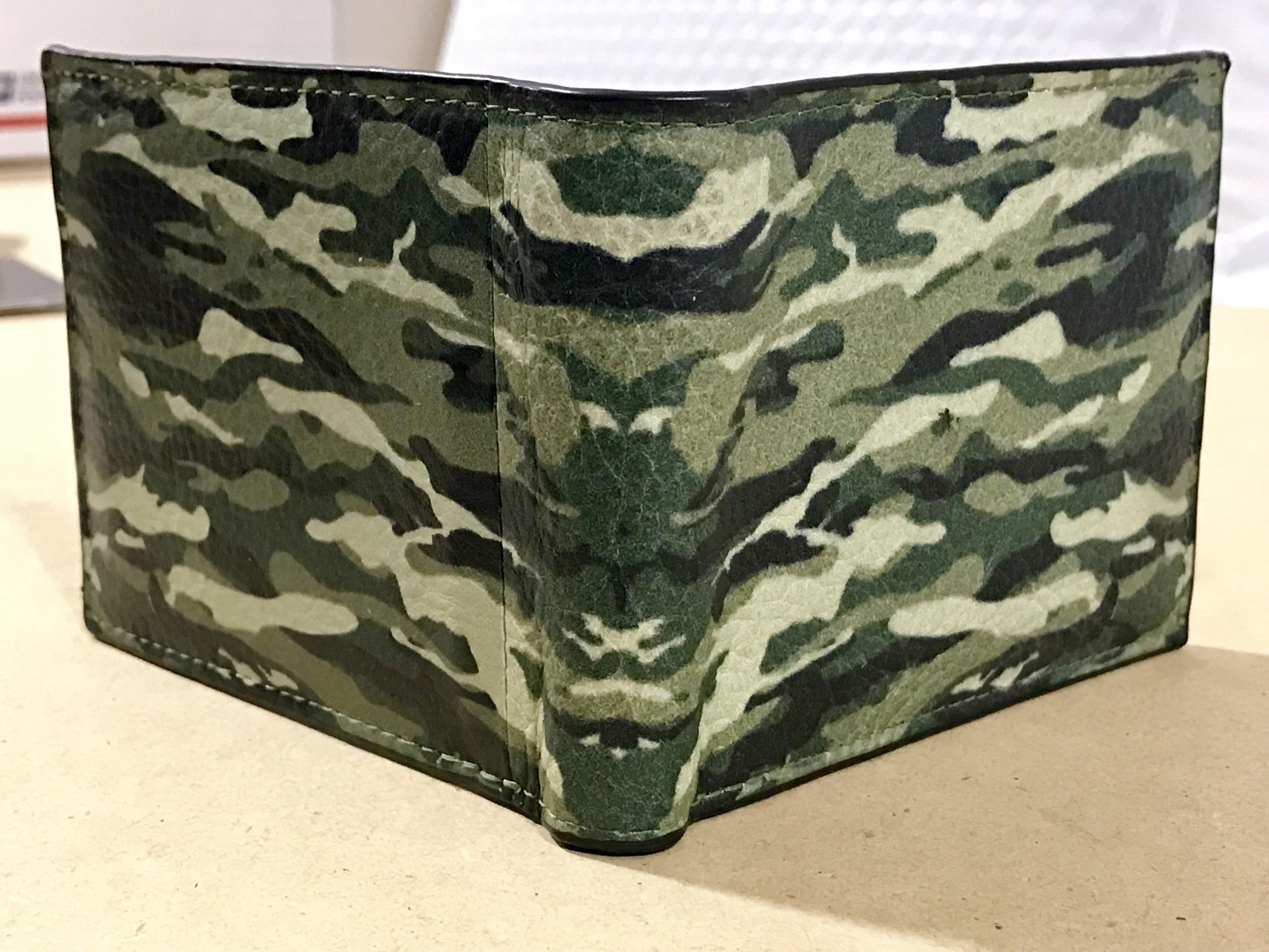 Camouflage Bi-fold Leather Wallet