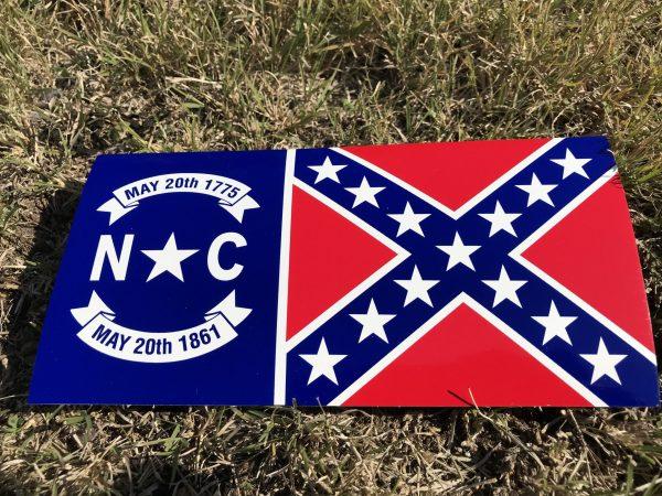 North Carolina Rebel Flag Bumper Sticker