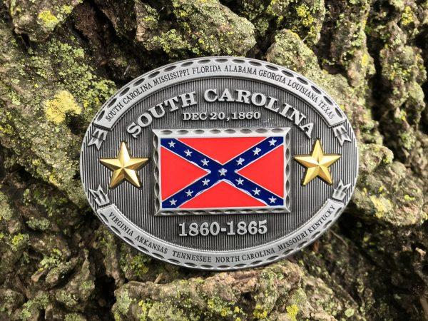 South Carolina Rebel Flag Belt Buckle