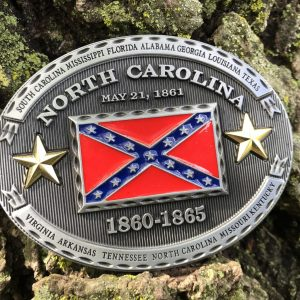 North Carolina Rebel Flag Belt Buckle