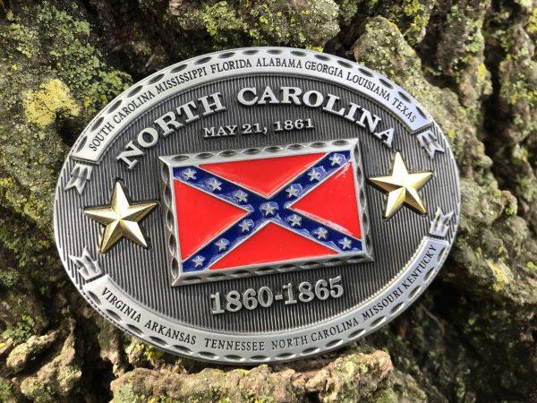 North Carolina Rebel Flag Belt Buckle