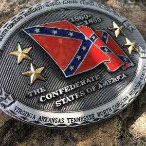 CSA Waving Rebel Flag Belt Buckle