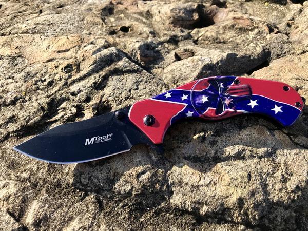 Rebel Punisher Skull Spring Assisted Knife