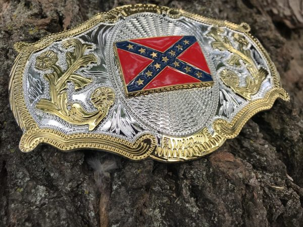 Western Confederate Flag Belt Buckle