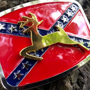 Golden Deer Rebel Flag Belt Buckle