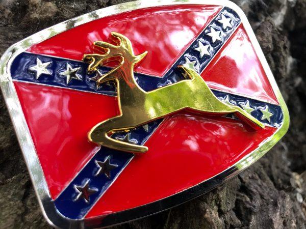 Golden Deer Rebel Flag Belt Buckle