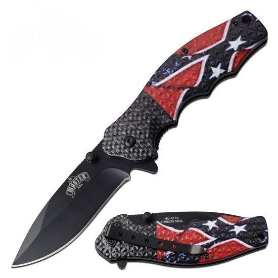 Textured Rebel Flag Knife