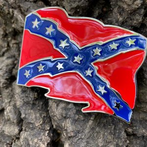 Waving Rebel Flag Belt Buckle