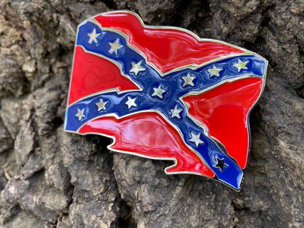 Waving Rebel Flag Belt Buckle