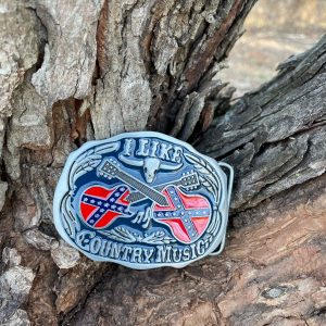 I Like country Music Confederate Flag Belt Buckle