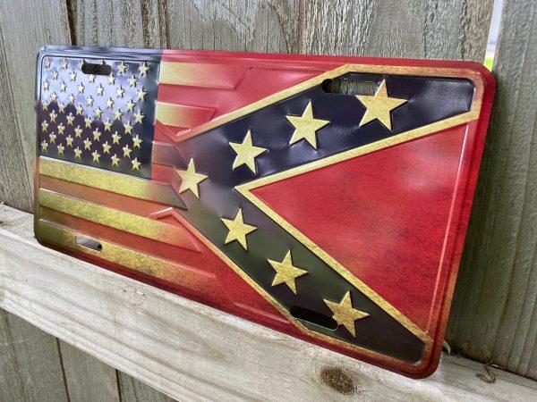 Distressed Blended Rebel Flag Plate